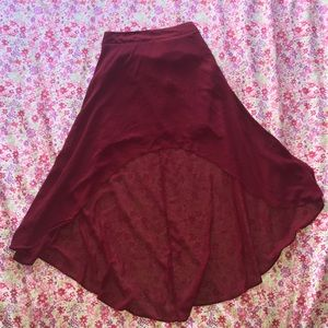 Forever 21 maroon lacy skirt